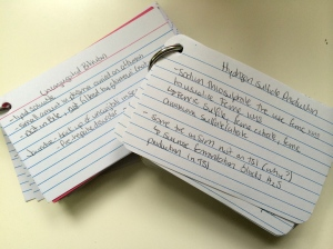 2 of my many cue card sets!